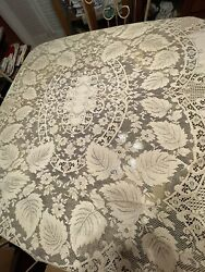 Vintage Quaker Lace Table Cloth Fall Leaves Center Medallion. 55x32 Awesome