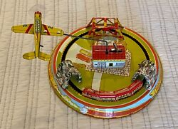 Vintage Louis Marx Tin Litho Honeymoon Express Wind-up Train And Plane Works Great