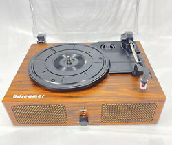 Vinyl Home Decor Record Player Turntable 3 Speed W/ Built-in Speakers Brown 001