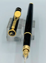 Black Laque Gt Diplomat Fountain Pen For Tennis Players - Unusual And Scarce