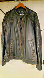 Mens Affliction Distressed Genuine Leather Jacket Size 3x Cross On Back
