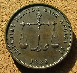 British East Africa 1 Pice 1306 1888 H Mombasa Nice Toning See Pic 3