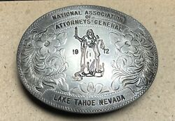 Silver State Sterling 1972 Attorneys General Association Belt Buckle Carson City