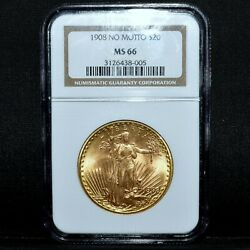1908-p 20 Gold Saint Gaudens ✪ Ngc Ms-66 ✪ No Motto Gem Uncirculated ◢trusted◣