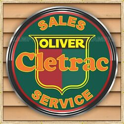 Oliver Cletrac Crawler Tractor Dealer Style Banner Sign Mural Med L Xl Xxl Sizes