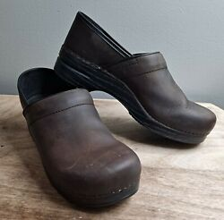 Dansko Professional Size 45 Antique Brown Leather Work Clogs Mules 206780202