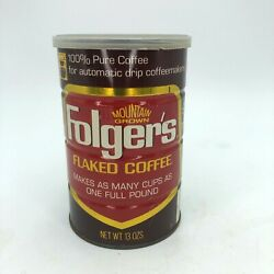 Vintage Folgers Tin Can 13 Oz Automatic Drip Flaked Coffee Mountain Grown