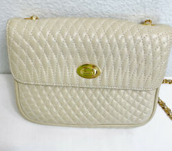 Bally Vintage Cream Beige Quilted Mini Bag Gold Chain Strap $130.00