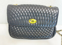 Bally Vintage Black Quilted Mini Bag Gold Chain Strap $130.00