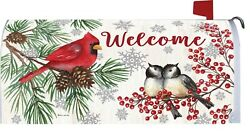 Welcome Winter Tree Cardinal Chickadee Snow Magnetic Mailbox Cover