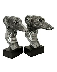 Pair Of Vintage Sculptural Whippet / Greyhound Dog Bookends