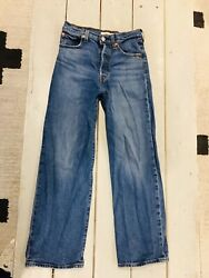 Levi's Ribcage High Rise Straight Button Fly Blue Denim Jeans Size 26