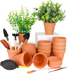 12 Pack Terra Cotta Pots With Saucer 12pcs 3 Inches Clay Pots With 7pcs Succulen
