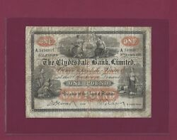 Scotland Clydesdale Bank 1 Pound 1918 P-181 Vf Rare Great Britain Uk