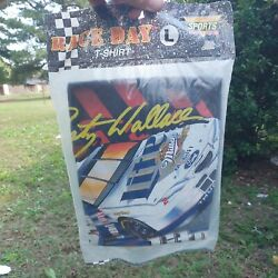 Factory Sealed Nos Vintage 90s Nascar 2 Rusty Wallace Miller Tshirt L Usa Made