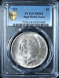 1921 Peace Silver Dollar - Pcgs Ms 64 - Gold Shield