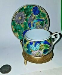 Vintage Green And Blue Bird Tea Cup And Saucer Set With Stand Made In Japan