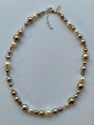 Vintage Holly Yashi Silver Pearl And Crystal Necklace