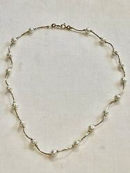 Vintage 14k Yellow Gold 5mm Cultured Pearl Beaded Tubed Necklace 5 Grams 16andrdquo L