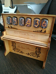Nixie Tube Clock In-12b Custom Made And039golden Pianoand039 Alarm Of Street Organ New