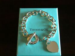 Nib And Co Retired Heart Tag Toggle Charm Bracelet Sterling Silver 7.5