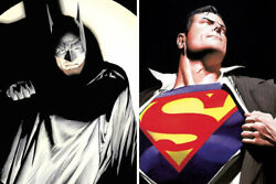 Alex Ross The Batman / Man Of Steel Ap Lithograph Set Of 2 - Signed And Numbered