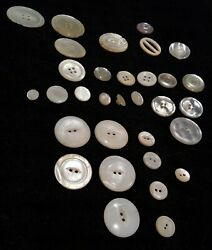 Vintage Mother Of Pearl Abalone Glass Buttons 32 Assorted Sizes