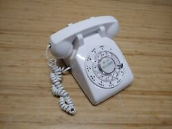 Atandt Vintage Rotary Dial Desk Phone White Bell Ringer Super Clean Tested And Works