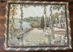 """Belgian Made Woven Tapestry Of Lake Como Extra large 86"""" Across x 62"""" High"""