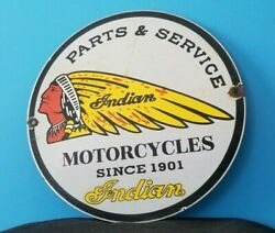 Vintage Indian Motorcycle Porcelain Parts And Service Station Pump Chief Sign