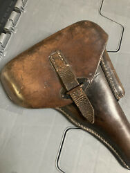 Original Ww2 German Wehrmacht Walther P38 Leather Holster Hard Shell Heer Eue 43
