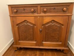 Antique Oak Sideboard Cabinet With Marble Top