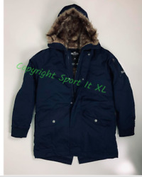 Guys Hollister Faux-fur-lined Military Parka Navy Blue New