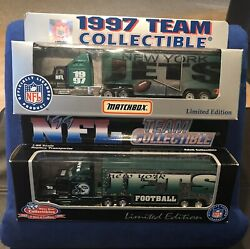 1997 And 1999 New York Jets Diecast Team Tractor Trailer Semi Truck Lot