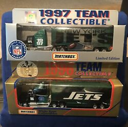 1996 And 1997 New York Jets Diecast Team Tractor Trailer Semi Truck Lot