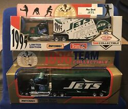1995 And 1996 New York Jets Diecast Team Tractor Trailer Semi Truck Lot