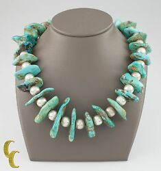 Sterling .natural Turquoise And Perlé Navajo Native Américain Collier