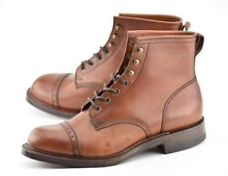 New   Rrl 10d Bowery Boots Brown Leather Double Rl England