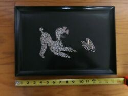 Mid-century Couroc Poodle And Butterfly Shell And Stone Inlay Phenolic Resin Tray