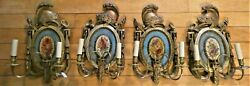 ⭐ 4 Set Of E F Caldwell And Co. Hand Painted Antique 2-arm Wall Sconces Rewired