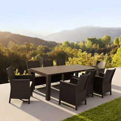 Siesta Extendable Dining Set 9 Piece Brown With Natural Cushion Isp8066s-br