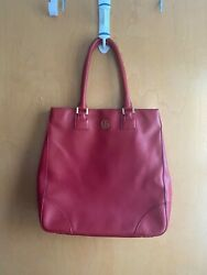 Tory Burch French Red Robinson Large Leather Tote Bag $89.99