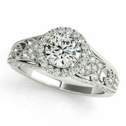 Excellent Round Cut 1.10 Ct Real Diamond Wedding Ring 14k White Gold Size 8 7 9