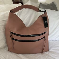 NWT Botkier Chelsea Hobo In Rose pink Pebble Leather w Gunmetal Retail $328 $199.00