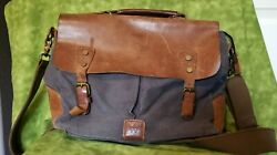 """Wow Box 13"""" Messenger Shoulder Bag Crossbody Business Bag Canvas and Leather $15.00"""
