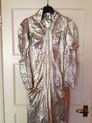Couture Gown 30andrsquos Glam Metallic Silk Silver Lame Vintage Long Train