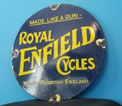 Vintage Royal Enfield Cycles Porcelain Gas Oil Motorcycles Service Station Sign