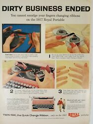 1957 Pink Royal Portable Typewriter Ad And039no Smudge Ribbonand039 Higher School Marks