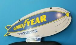 Vintage Goodyear Tires Porcelain Gas Aviation Blimp Double Sided Service Sign