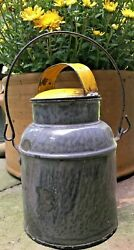 Antique Gray Mottled Granite Ware Cream Can W/ Lid And Bale Handle